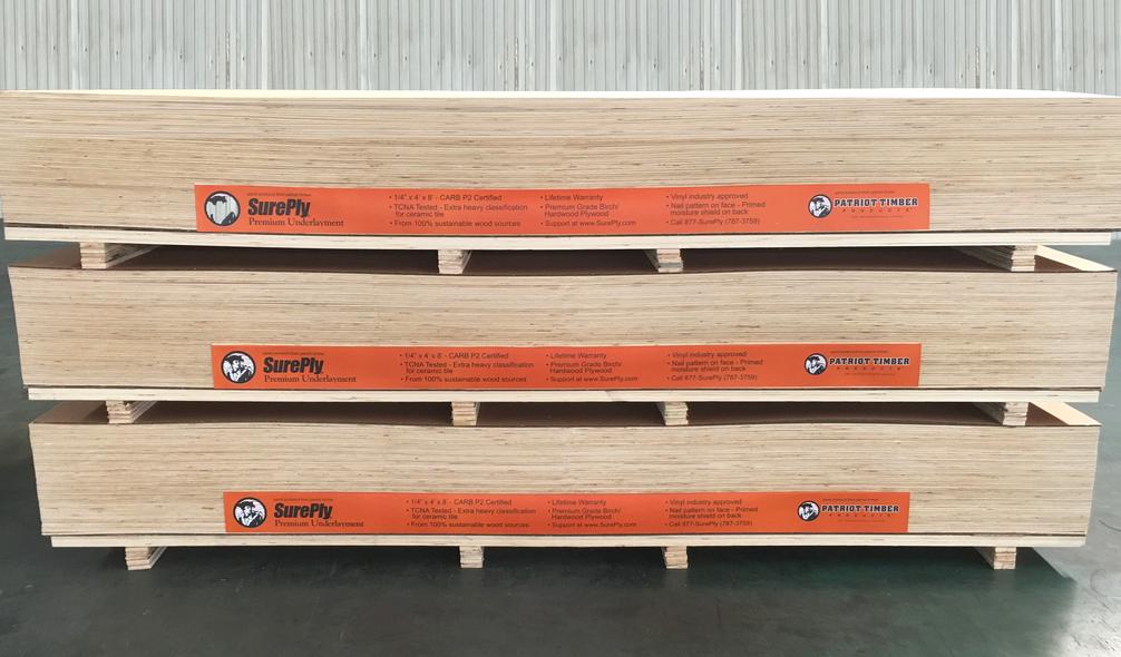 <p><em>SurePly</em>® Plywood Underlayment On Product Signage</p>