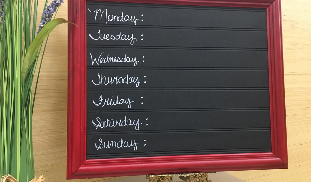 <p>Daily menu/chore board made from<em> RevBead</em><span>®</span> Reversible Plywood Beadboard</p>